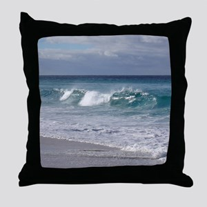 Waves on Friendly Beach Throw Pillow