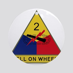 2nd Armored Division - Hell On Whee Round Ornament