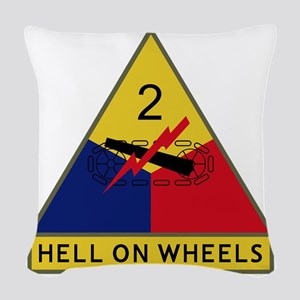 2nd Armored Division - Hell On Woven Throw Pillow