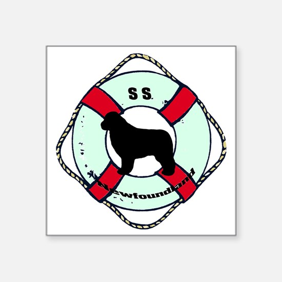 "SS Newfoundland Dog Square Sticker 3"" x 3"""