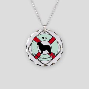 SS Newfoundland Dog Necklace Circle Charm