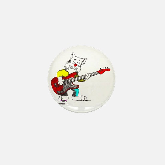 Bass Guitar Cat for Dark Apparel Mini Button