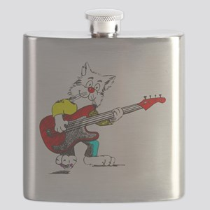 Bass Guitar Cat for Dark Apparel Flask