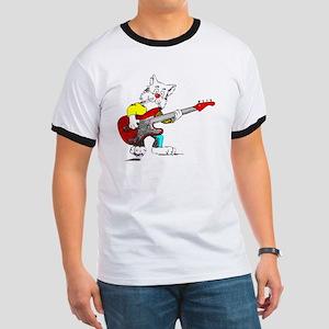 Bass Guitar Cat for Dark Apparel Ringer T