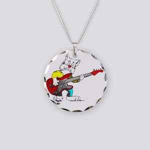 Bass Guitar Cat for Dark App Necklace Circle Charm