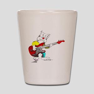 Bass Guitar Cat for Dark Apparel Shot Glass