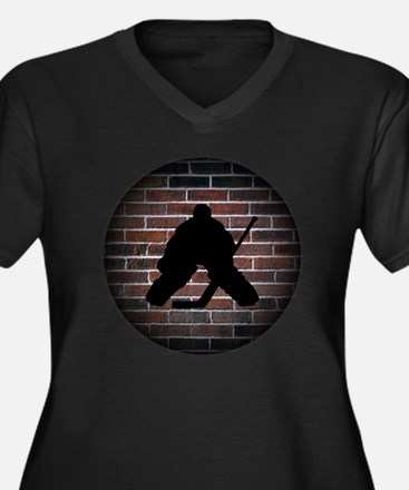 Hockey Goali Women's Plus Size Dark V-Neck T-Shirt
