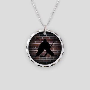 Hockey Goalie Necklace Circle Charm