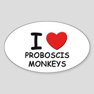I love proboscis monkeys Oval Sticker