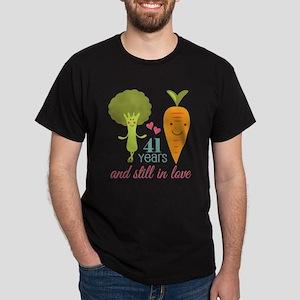 41 Year Anniversary Veggie Couple Dark T-Shirt