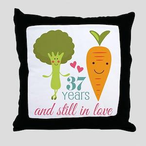 37 Year Anniversary Veggie Couple Throw Pillow