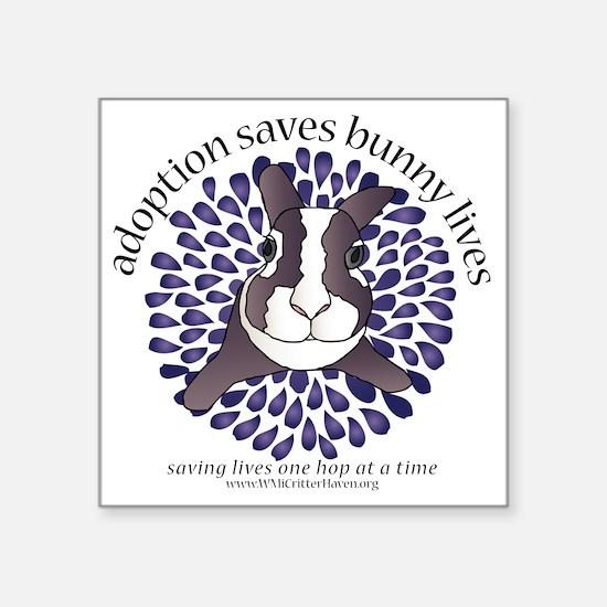 "adoptionsavesbunnies-PLUMto Square Sticker 3"" x 3"""
