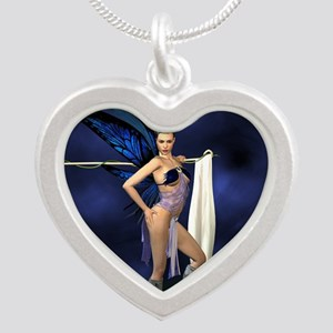 color guard fairy Silver Heart Necklace
