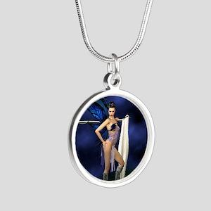 color guard fairy Silver Round Necklace