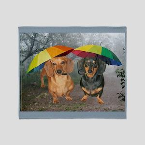 rain umbrella dogs16x16 copy Throw Blanket