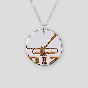 Dizzy Trumpet Kente Necklace Circle Charm