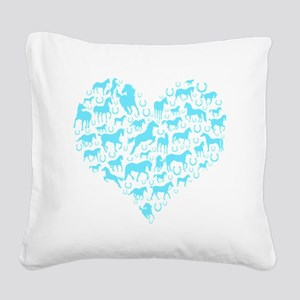horse heart light blue Square Canvas Pillow