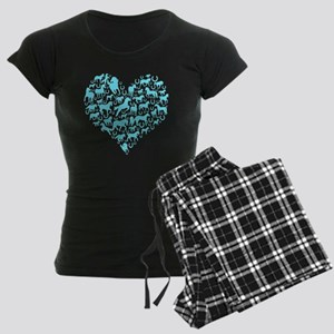 horse heart light blue Women's Dark Pajamas