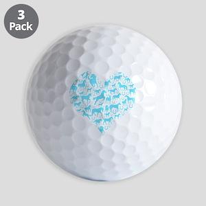 horse heart light blue Golf Balls