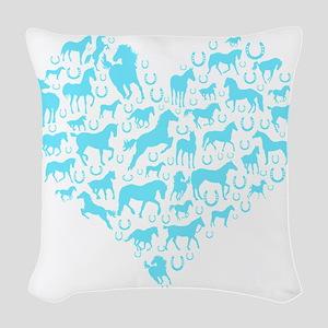 horse heart light blue Woven Throw Pillow