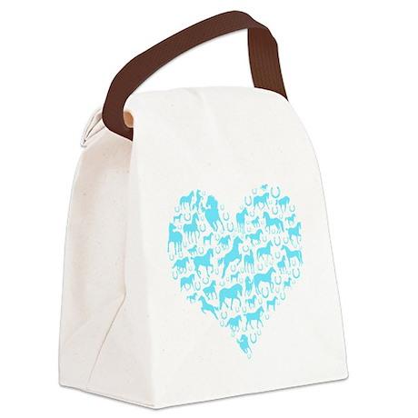 horse heart light blue Canvas Lunch Bag
