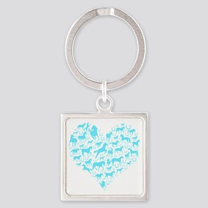 horse heart light blue Square Keychain