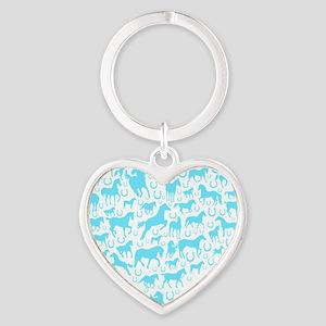 horse heart light blue Heart Keychain