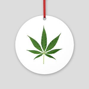 Pot Leaf Round Ornament
