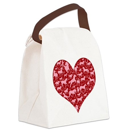 horse heart pink red Canvas Lunch Bag