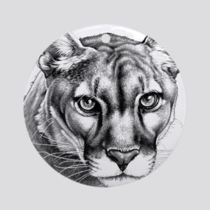 Panther Grayscale Round Ornament
