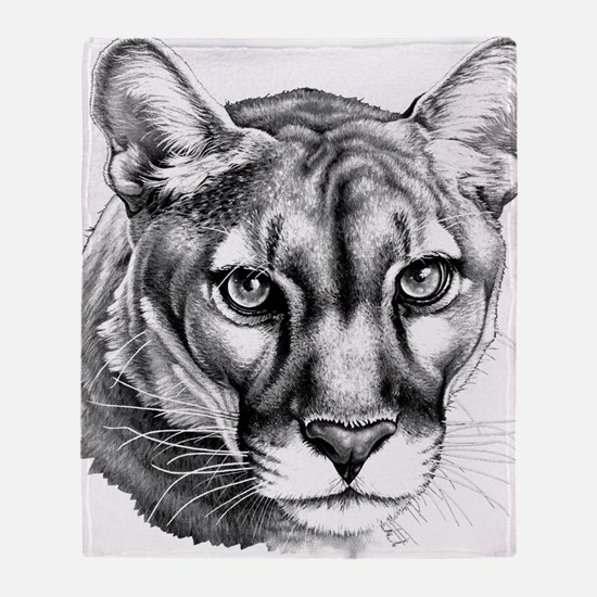 Panther Grayscale Throw Blanket