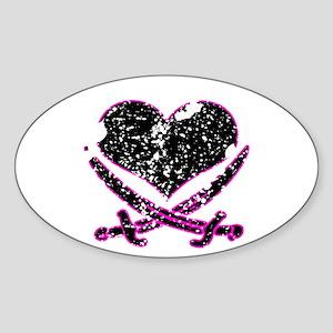 Pirate Heart Oval Sticker