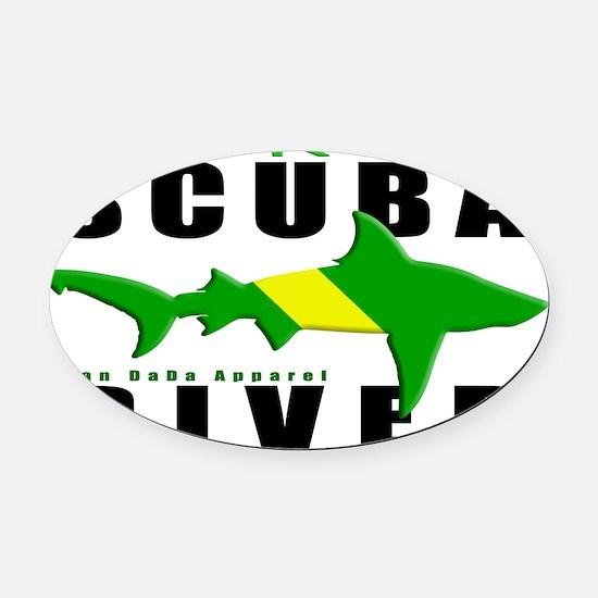 Scuba Diver Shark NITROX 6.5x10 4B Oval Car Magnet