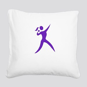 Shot Put Chick White Square Canvas Pillow