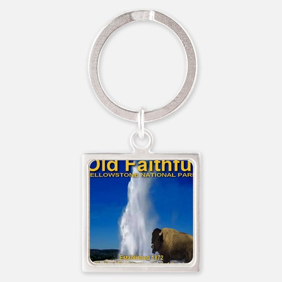 Old_faithful_bison Square Keychain