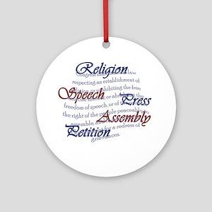 1st Amendment Round Ornament