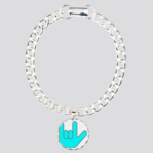 I Love You Cyan Charm Bracelet, One Charm