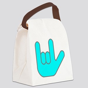 I Love You Cyan Canvas Lunch Bag