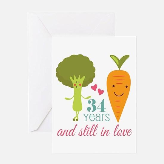 34 Year Anniversary Veggie Couple Greeting Card