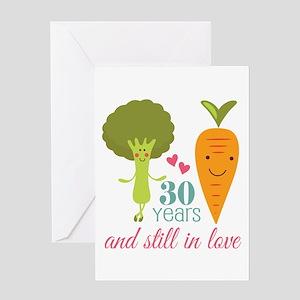 30 Year Anniversary Veggie Couple Greeting Card