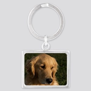 (2) golden retriever head shot Landscape Keychain