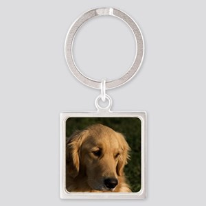 (15) golden retriever head shot Square Keychain