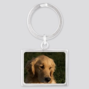 (10) golden retriever head shot Landscape Keychain