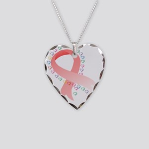 Breast Cancer Hearts 2 T Necklace Heart Charm