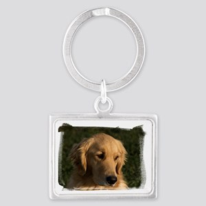 (16) golden retriever head shot Landscape Keychain