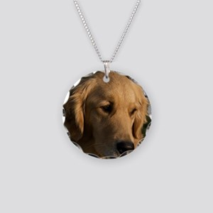 (15s) golden retriever head  Necklace Circle Charm