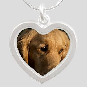 (15s) golden retriever head  Silver Heart Necklace