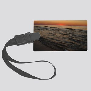 Lake MI Sunset2 Large Luggage Tag