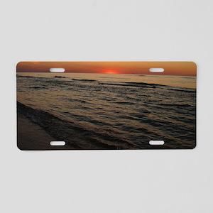 Lake MI Sunset2 Aluminum License Plate