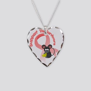 Support the survivors ribbon  Necklace Heart Charm